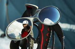 Climber reflection in the eyeglasses Stock Photos