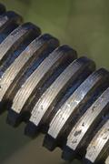 thread shaft of rusty pipeline valve - stock photo