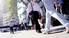 City Commuters Walking to Work Stock Footage