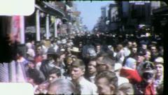 Crowd NEW ORLEANS Mardi Gras BOURBON STREET 1950s Vintage Film Home Movie 4137 - stock footage