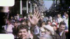 BOURBON Street CROWD NEW ORLEANS Mardi Gras 1950s Vintage Film Home Movie 4138 - stock footage