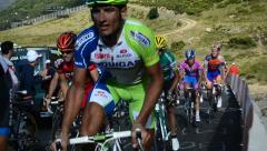 "Stock Video Footage of Cyclist in ""La Vuelta"" Championship, Spain."