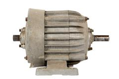old electric motor (isolated) - stock photo