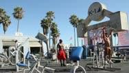 Muscle Beach at Venice Beach Stock Footage