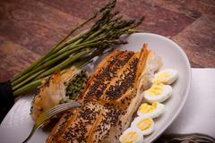 photo: asparagus rolls made with phyllo dough - stock photo