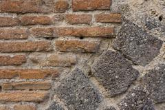 Stock Photo of wall of ruined pompeii building