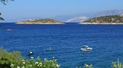 Boats and small islands, Agios Nikolaos, Crete Stock Footage