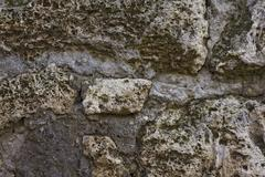 wall of ruined pompeii building - stock photo