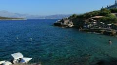 Terraced beach and mediterranean sea, Agios Nikolaos, Crete Stock Footage