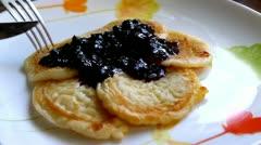 Eating pancakes Stock Footage