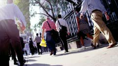 City Workers on Crowded Streets Stock Footage