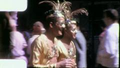 GAY MALE Jokers Street Crowd Fun Mardi Gras 1960 Vintage Film Home Movie 4160 Stock Footage