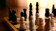 Closeup of chess board Stock Footage