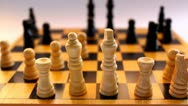 Wooden chessboard Stock Footage