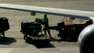 Baggage Handler offloading luggage, from aircraft. Stock Footage