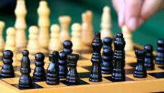 Playing chess closeup Stock Footage