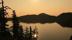 Crater Lake 50 Timelapse  Sunrise x12 Wizard Island Stock Footage