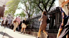 Wall Street Commuters Starting Their Working Day - stock footage