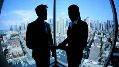 Handshake of Caucasian business colleagues working in Manhattan - stock footage