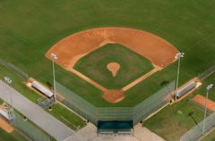 baseball diamond playing field - stock photo
