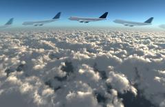 airplane flying path - stock illustration