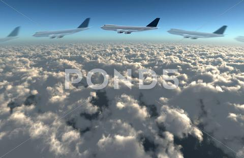 Stock Illustration of airplane flying path