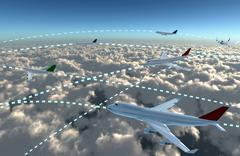 airplanes sky map - stock illustration