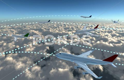 Stock Illustration of airplanes sky map