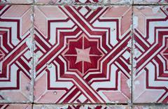 traditional portuguese glazed tiles - stock photo
