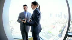 Caucasian business team have information meeting using tablet  Stock Footage