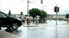 People in Luzern crossing street Stock Footage
