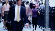 Stock Video Footage of New York City Commuters on Wall Street
