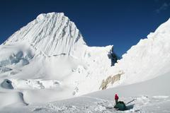 base camp alpamayo in the cordillera - stock photo