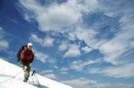 Climber  on the summit ishinca Stock Photos