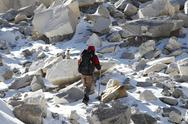 Climber in the cordillera blanca mountain Stock Photos