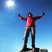 Climber in snowy mountain Stock Photos