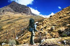 Stock Photo of backpacker in cordilleras mountain