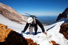 climb on the shasta mount,usa - stock photo