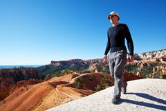 hike in bryce canyon - stock photo