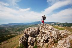 hike in crimea - stock photo