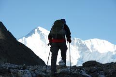 Stock Photo of climber in himalayan mountain