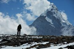 Climber in himalayan mountain Stock Photos