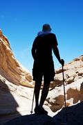 tourist in canyon - stock photo