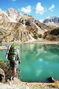 hike in high mountains - stock photo