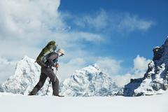Stock Photo of backpacker in himalaya mountain