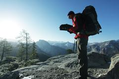 Backpacker in  mountains Stock Photos