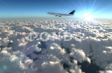 Stock Illustration of plane and sun flare