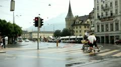 Stop light in Luzern Switzerland Stock Footage