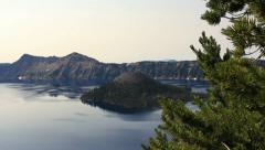 Stock Video Footage of Crater Lake 68 Dolly Left Wizard Island