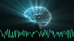 the crystal brain and wave graph - stock illustration